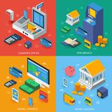 Electronic Banking Isometric Concept. With workspace of cashier atm service mobile payment money savings isolated vector illustration Royalty Free Stock Photo