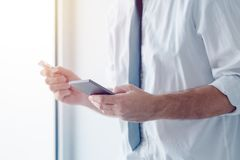 Electronic banking with mobile phone Stock Image