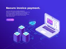 Electronic billing connection of laptop and database. Secure invoice payment. Electronics transaction bill 3d isometric. Electronic billing connection of laptop Stock Photos