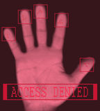Electronic biometric fingerprint scanning. Biometric palm scanning screen with access denied text Stock Photography