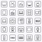 Electronic black contour icons Royalty Free Stock Photography