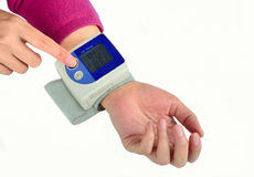 Electronic blood pressure meter Stock Image