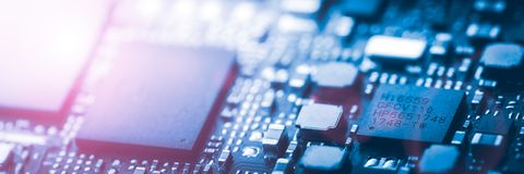 Modern Blue Circuit Board Background Banner royalty free stock photo