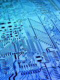 Electronic board. Electronic circuit board in blue royalty free stock images