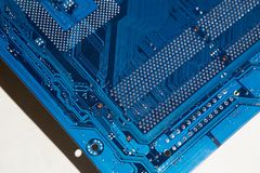 Electronic board. The color is blue. Electronics stock photos