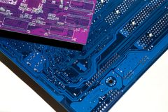 Electronic board. The color is blue. Electronics royalty free stock images