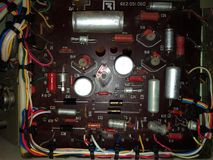 Old analog electronic board and components Royalty Free Stock Photo