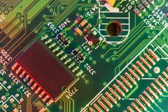 Electronic board components, Motherboard digital chip. Tech science background. Integrated communication processor stock photos