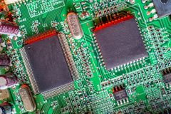 Electronic board components, Motherboard digital chip. Tech science background. Integrated communication processor stock images
