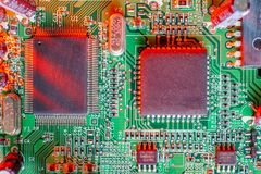 Electronic board components, Motherboard digital chip. Tech science background. Integrated communication processor royalty free stock images