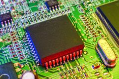 Electronic board components, Motherboard digital chip. Tech science background. Integrated communication processor stock photography