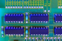 Electronic board components, Motherboard digital chip. Tech science background. Integrated communication processor stock image