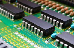 Electronic board components, Motherboard digital chip. Tech science background. Integrated communication processor royalty free stock photos