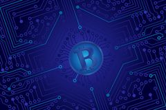 An electronic board. The electronic board from the computer in green color with a Bitcoin in the center. Vector image Royalty Free Stock Photos