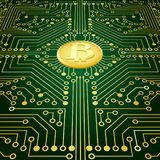 An electronic board. The electronic board from the computer in green color with a Bitcoin in the center. Vector image Stock Image