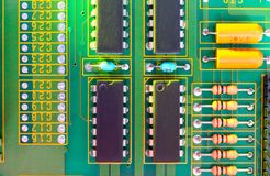 Electronic board design, Motherboard digital chip. Tech science background. Integrated communication processor royalty free stock photos