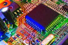 Electronic board design, Motherboard digital chip. Tech science background. Integrated communication processor stock images