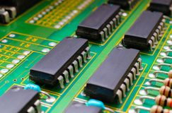 Electronic board design, Motherboard digital chip. Tech science background. Integrated communication processor stock photography