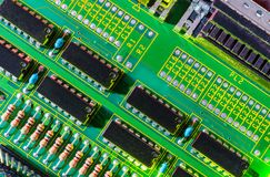 Electronic board design, Motherboard digital chip. Tech science background. Integrated communication processor stock image