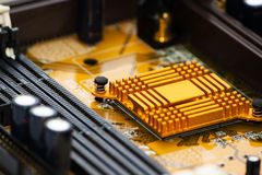 Electronic board detail on a chip.  Royalty Free Stock Photos