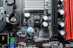 Electronic board with electrical components. Electronics of computer equipment.  Stock Image