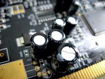 Electronic board with electrical components. Electronics of computer equipment.  Stock Photography