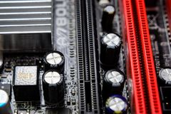 Electronic board with electrical components. Electronics of computer equipment.  Royalty Free Stock Images