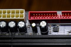 Electronic board with electrical components. Electronics of computer equipment.  Stock Images