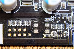Electronic board with electrical components. Electronics of computer equipment.  Royalty Free Stock Photos