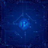 An electronic board. The electronic board from the computer in blue color with a Bitcoin in the center. Vector image Royalty Free Stock Photos