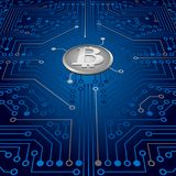 An electronic board. The electronic board from the computer in blue color with a Bitcoin in the center. Vector image Stock Image