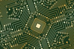 An electronic board. The electronic board from the computer in green and gold color with a microprocessor in the center. Vector image Stock Image