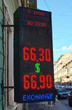 Electronic Board with the exchange rate. Stock Images