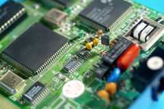 Electronic board PCB. Mounted electronic board focused on component Royalty Free Stock Images