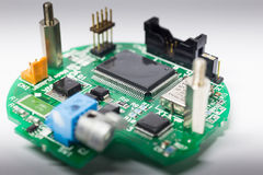 Electronic board shown detail of integrated circuit Royalty Free Stock Photos