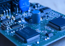 Electronic board toned blue Stock Image