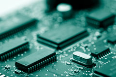 Electronic board toned green Royalty Free Stock Photography