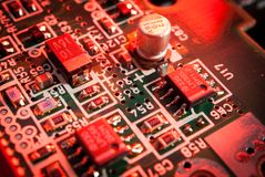 Electronic board toned red Royalty Free Stock Image
