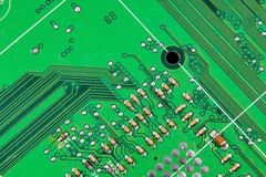 Electronic board wallpaper, Motherboard digital chip. Tech science background. Integrated communication processor stock photo