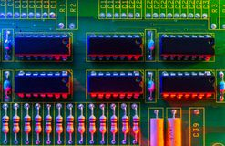 Electronic board wallpaper, Motherboard digital chip. Tech science background. Integrated communication processor royalty free stock image