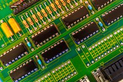 Electronic board wallpaper, Motherboard digital chip. Tech science background. Integrated communication processor royalty free stock images