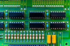 Electronic board wallpaper, Motherboard digital chip. Tech science background. Integrated communication processor royalty free stock photography
