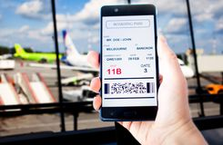 Electronic boarding pass on the screen of smartphone Royalty Free Stock Images