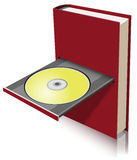 Electronic Book. Concept visually represented as a combination of paper book and disk drive stock illustration
