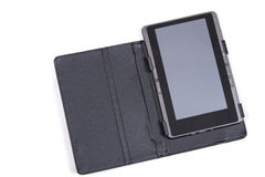The electronic book in the black cover Stock Photo