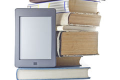 Electronic book and books. Stock Photo