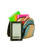 Electronic book with books in backpack Royalty Free Stock Images