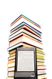 Electronic book concept. Stack of books and ebook reader device, concept for reading electronic books Stock Image