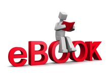 Electronic book concept. 3d man sitting on ebook word reading a red book isolated illustration