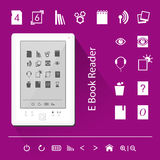 Electronic book (e-book) reader. Icons. Realistic illustration of a white e-book reader with icons Royalty Free Stock Photo